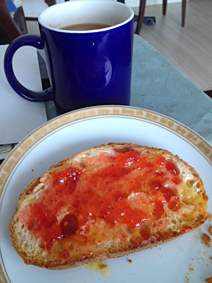 Tea and strawberry toast