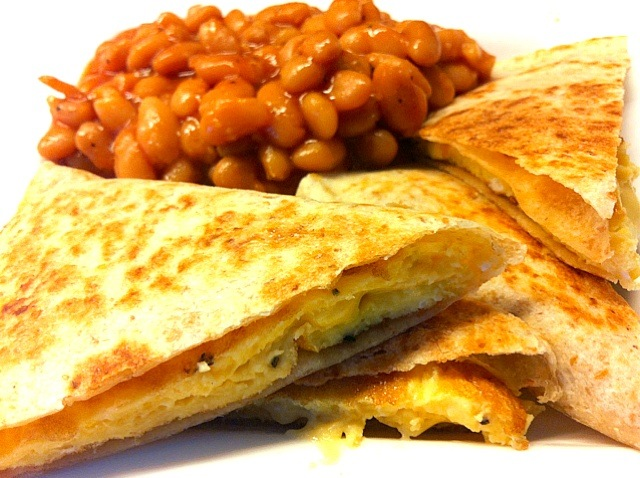 Cheese omelet quesadilla with beans