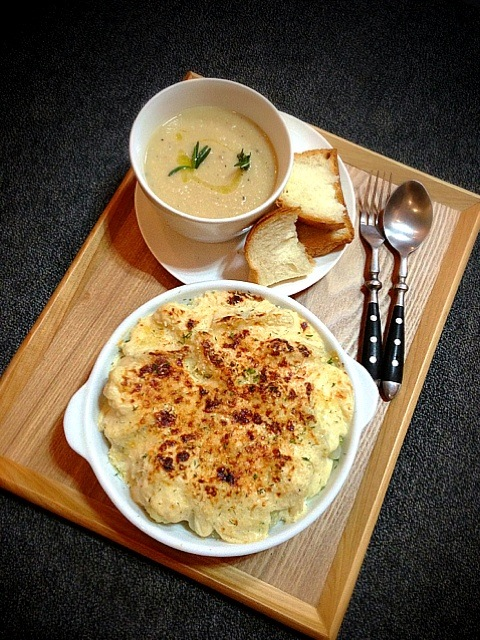 Cauliflower and fennel gratin with fontina,chickpea soup with rosemary