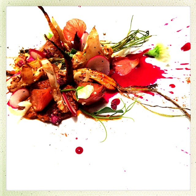 ROASTED CARROT. ROMESCO. SEARED HEIRLOOM TOMATO. RAS EL HANOUT CAULIFLOWER. RADISH. FENNEL. BAHARAT BEET JUS