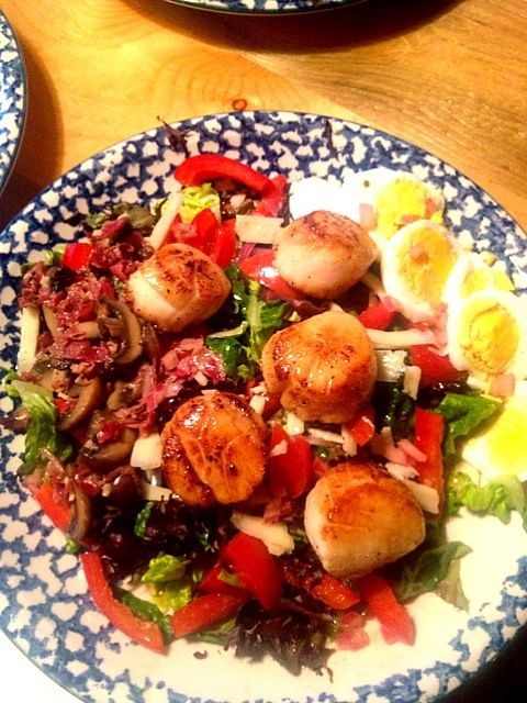 Seared scallops over greens and sautéd pancetta and mushrooms. With my Dijon vinaigrette.