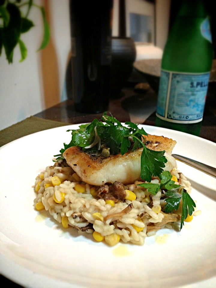 Pan fried parrot fish,sweet and corn and chanterelle mushroom risotto,caper and parsley salad