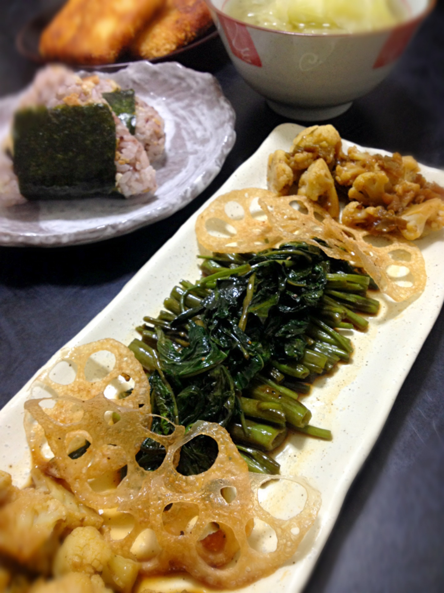 Chili Cauli, Crispy Renkon, Shouyu-Mirin-Sake Swamp Cabbage