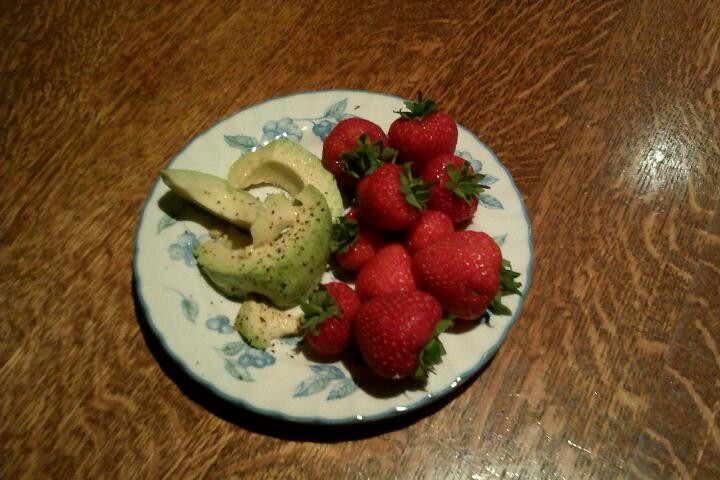 Seasoned avocado with strawberries