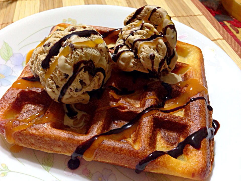 Brussels Waffles with Ice Cream drizzled with chocolate n butterscotch sauce