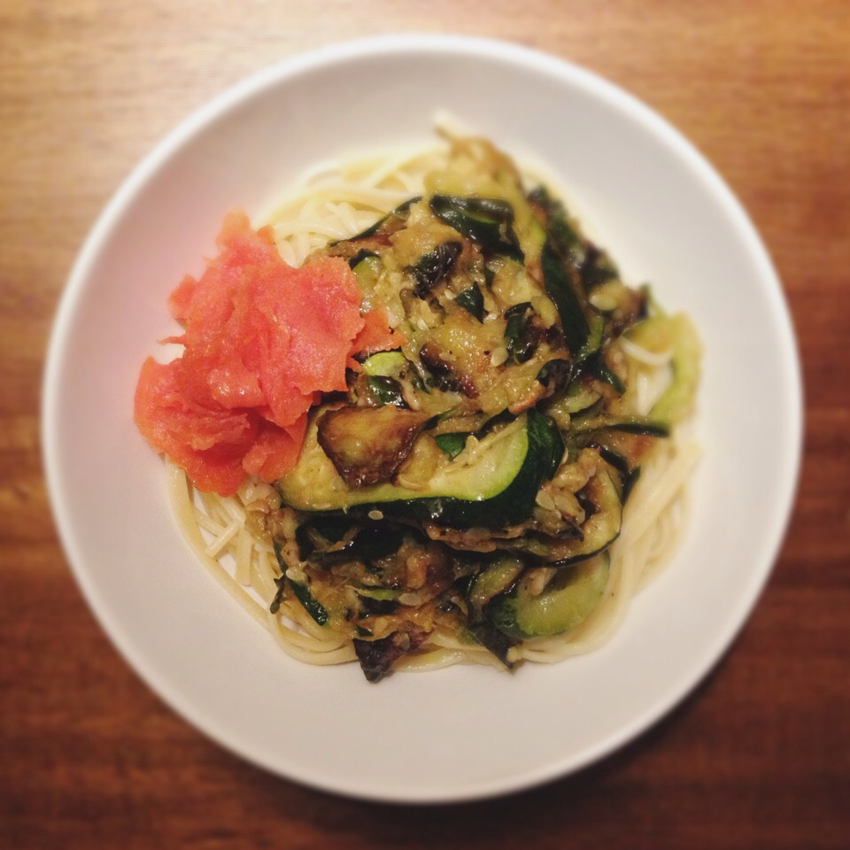 Roasted Zuccini and Smoked Salmon on Fettucini