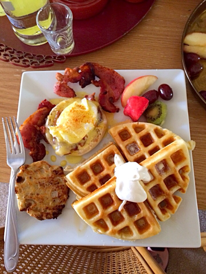 Eggs Benedict and Waffles