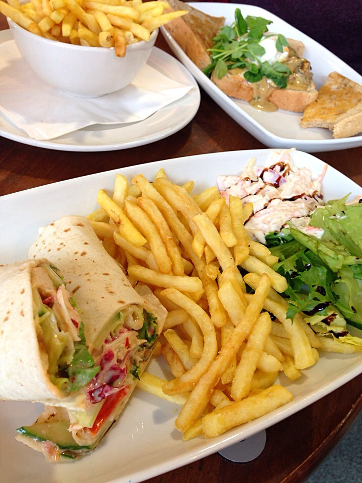 Sweet Chilli Grilled Chicken Wrap with Fries, Salad and Coleslaw