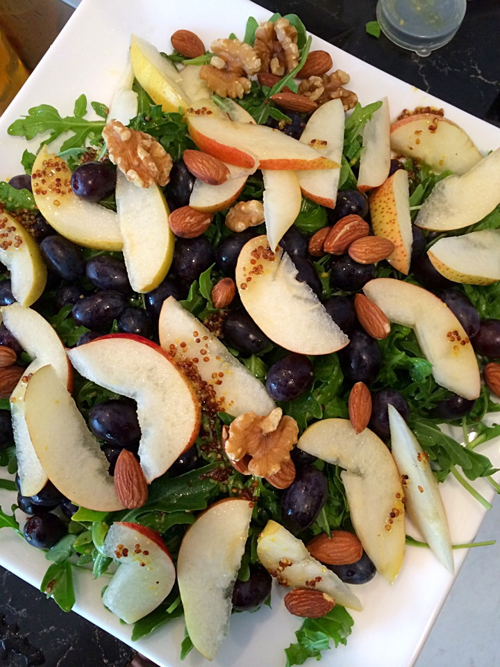 Pear, grape and nut salad