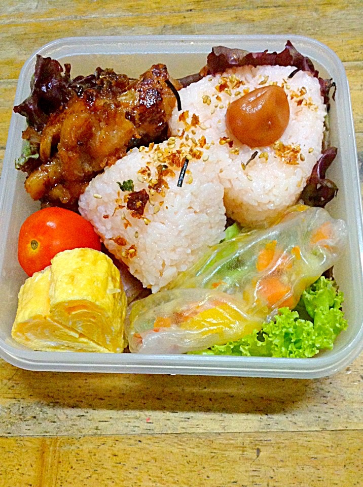 Chicken Barbeque with Onigiri and Rice Paper-Wrapped Vegetables