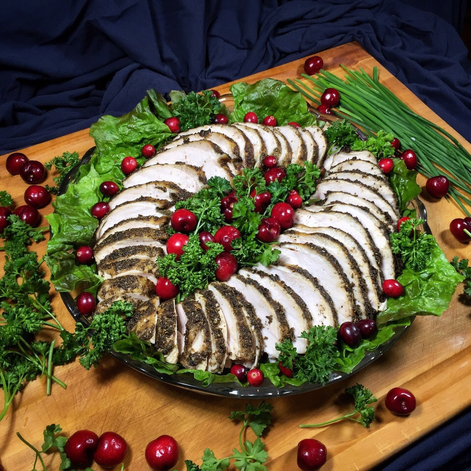 Happy Thanksgiving!! Herb-encrusted slow-roasted turkey.