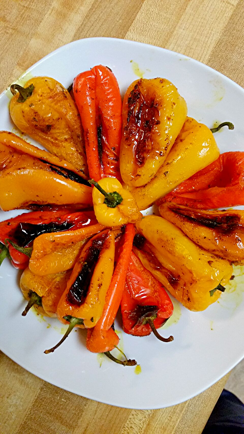 toasted sweet peppers with olive oil and my magic dusting powder.