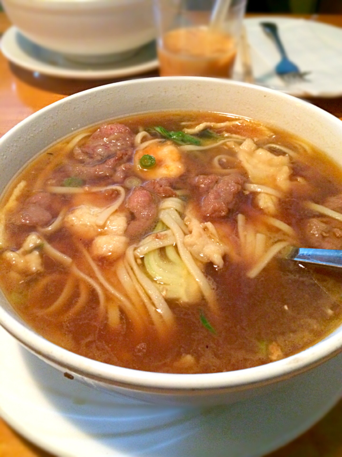 Beef and shrimp noodle soup