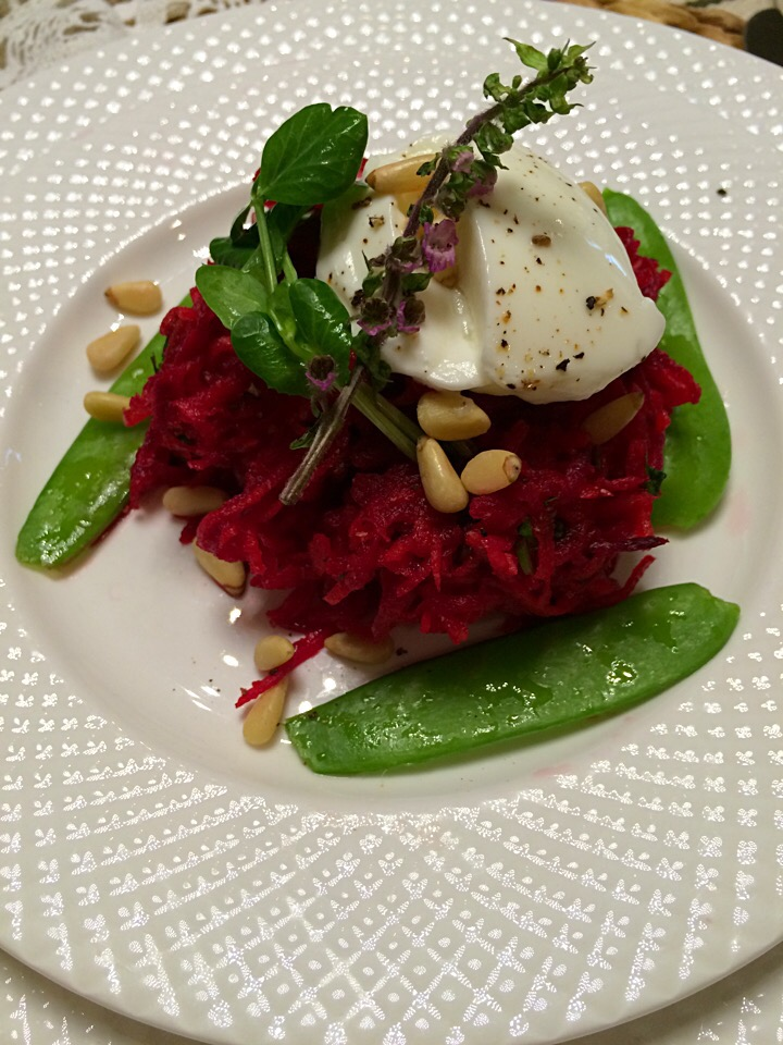 Beet and carrot salad with coriander and pine nuts;))