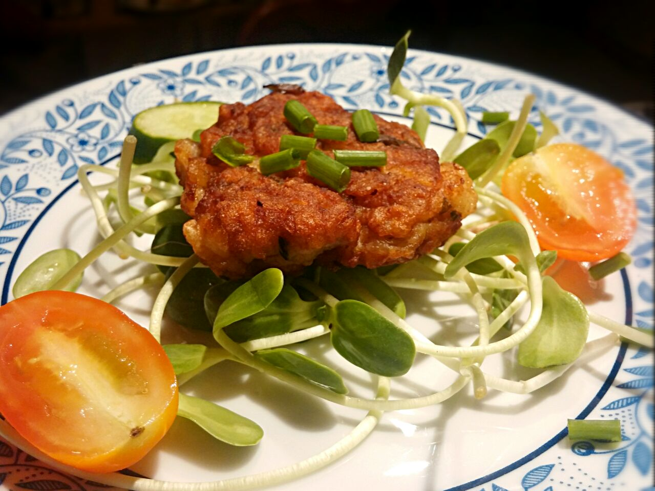 Dory Fish Cake served on a bed of Crunch Sunflower Sprouts   #simpleeats #realfood #yummy #freshflavours