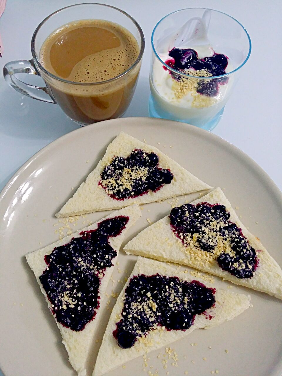 Fresh Blueberries Jam + Bread + Low Fat Yoghurt+ Coffee 💟💗ヽ(^。^)丿