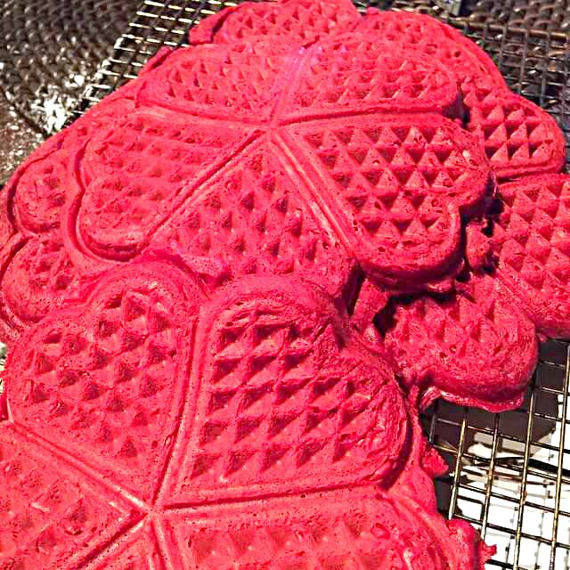 red velvet waffles for the waffle cake