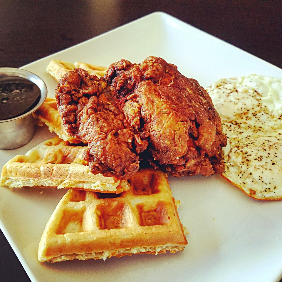 Chicken N' Buttermilk Waffles w/ Prickly Pear Syrup & Fried Eggs