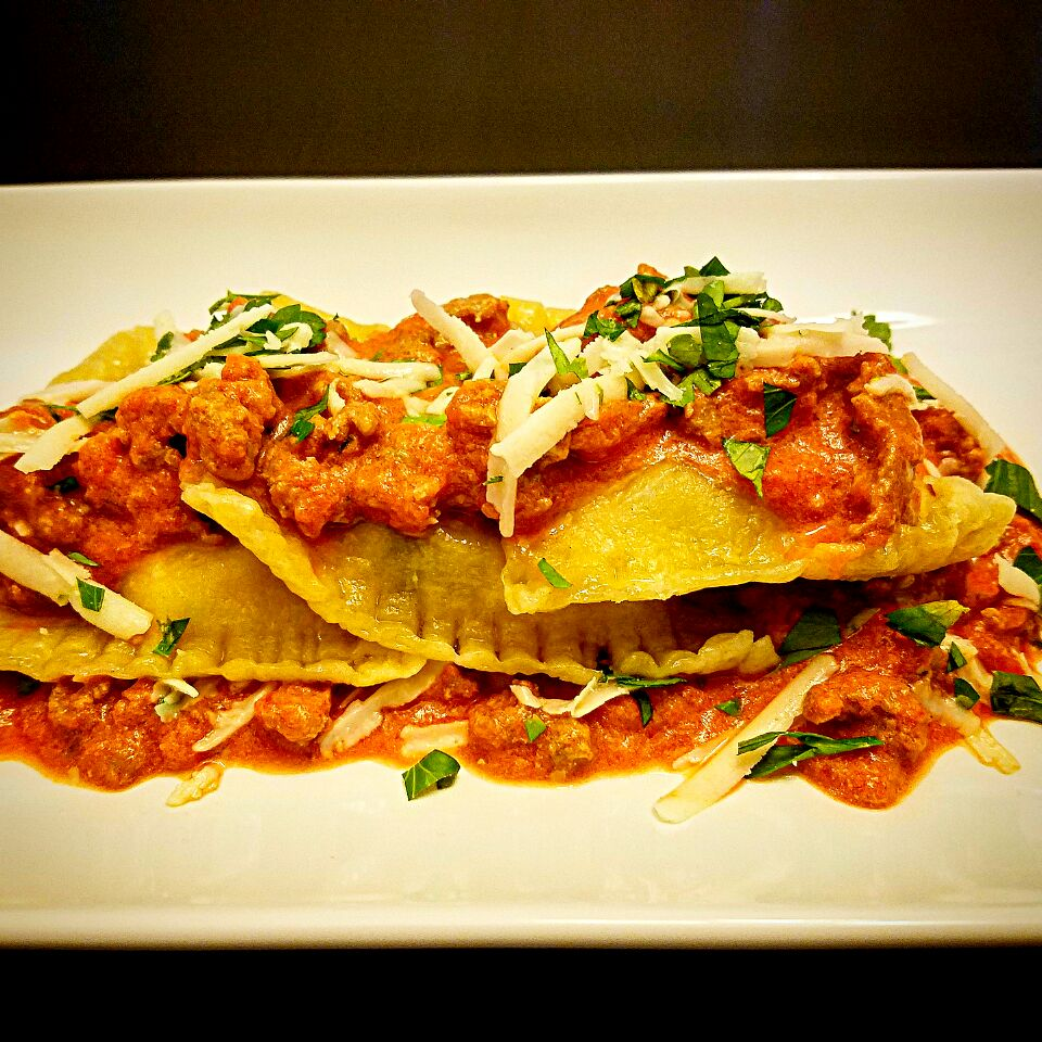 Four Cheese Ravioli w/ Tomato Cream Meat Sauce