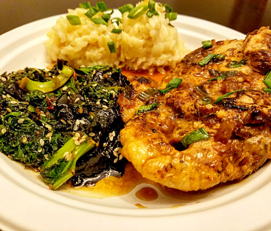 Island Plate - Bourbon Teriyaki Chicken w/ Pineapple Coconut Rice & Sesame Seaweed Island Greens