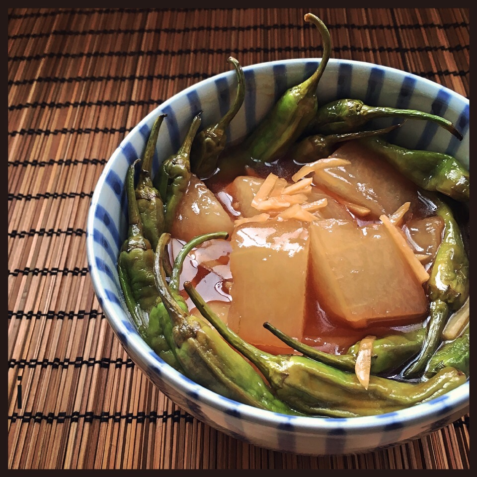 冬瓜とししとうの黒酢餡かけ 【Winter melon and green pepper in black vinegar  sauce】