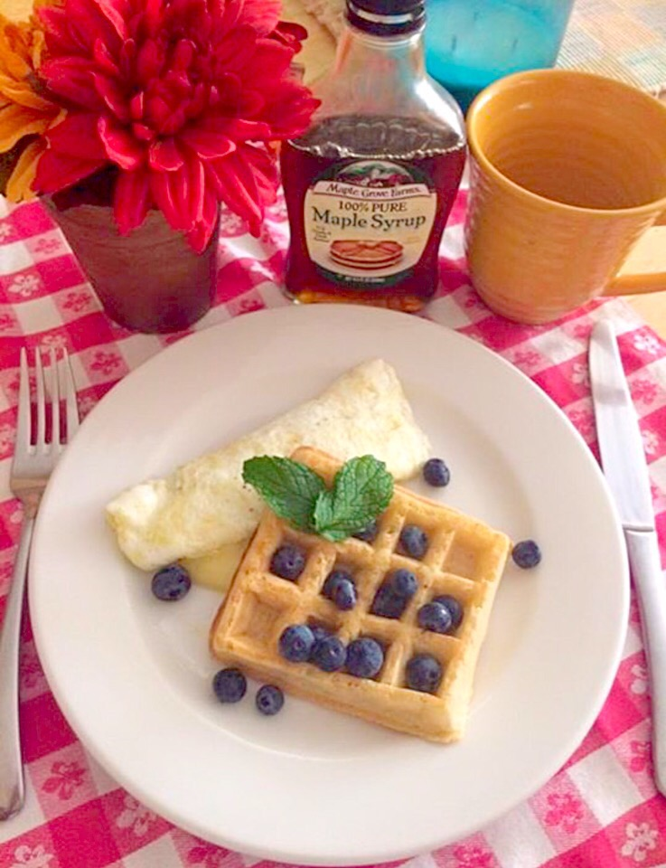 Belgian waffles and blueberry, & egg-white omelette