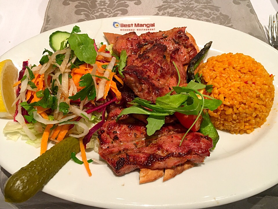 KUZU KULBASTI🇹🇷 seasoned Tender Fillet Of Lamb Barbecued,Searved With Rice And Salad