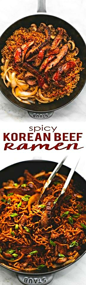 I didn't make this but i want to try it if u don't eat meat add mushrooms or tofo!  SPICY KOREAN BEEF NOODLES       PRINT  PREP TIME  5 mins  COOK TIME  25 min