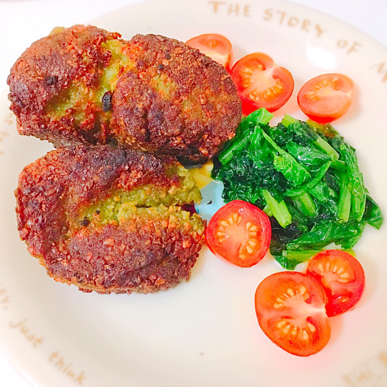 Falafel with spinach, the Middle Eastern cuisine made of chickpeas