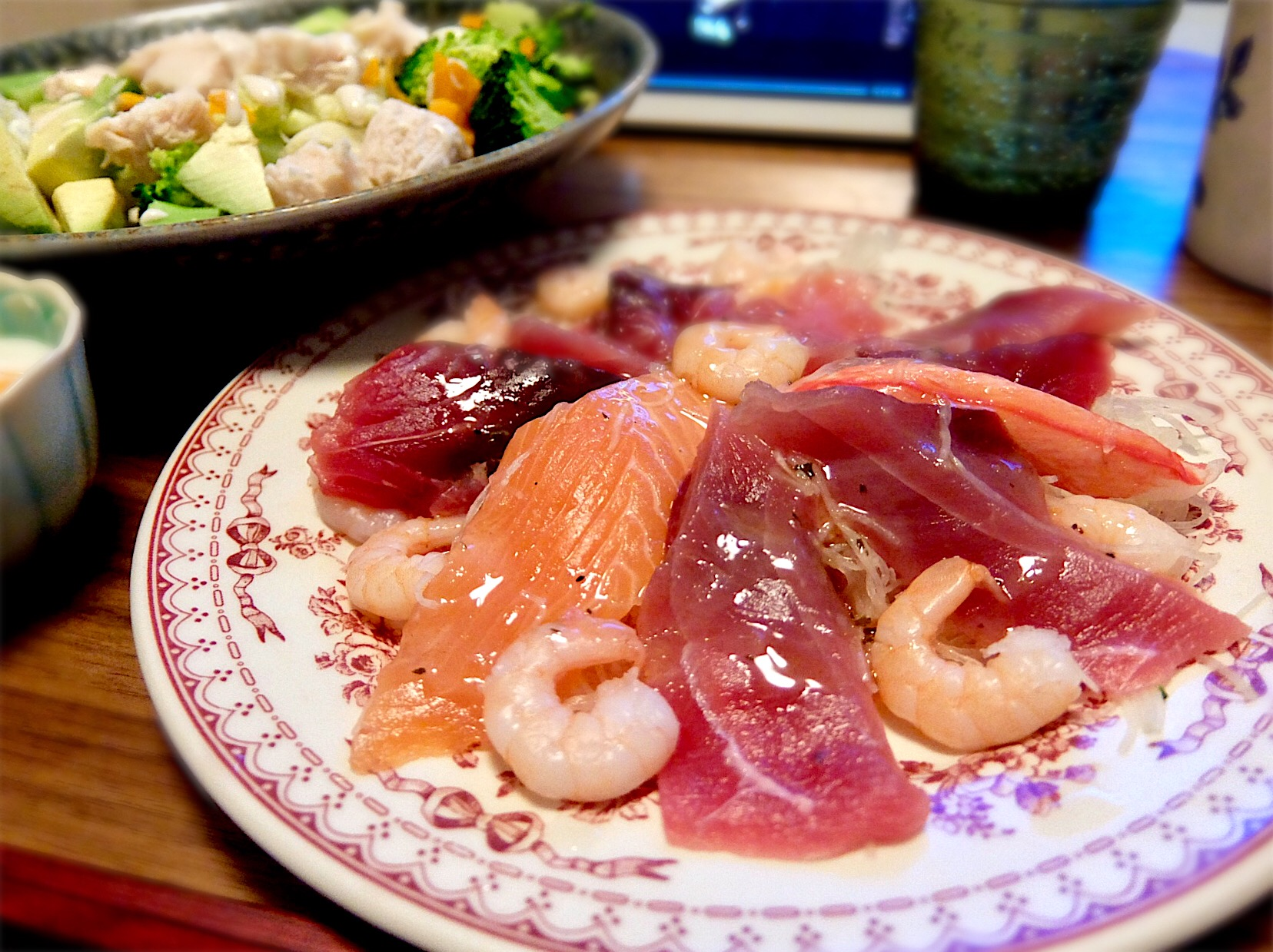 2017/12/05 #dinner Japanese ruby fish ceviche, Caesar salad, Sirataki noodles, Soft boild egg (ハチビキ(赤鯖)のセビーチェ、シーザーサラダ、温泉卵)