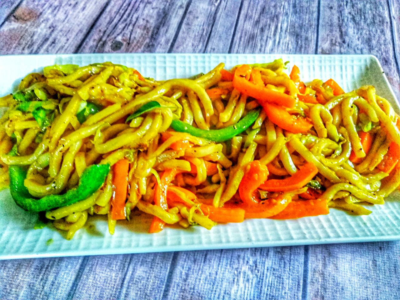 Peppery Curried Stir fried Udon noodles
