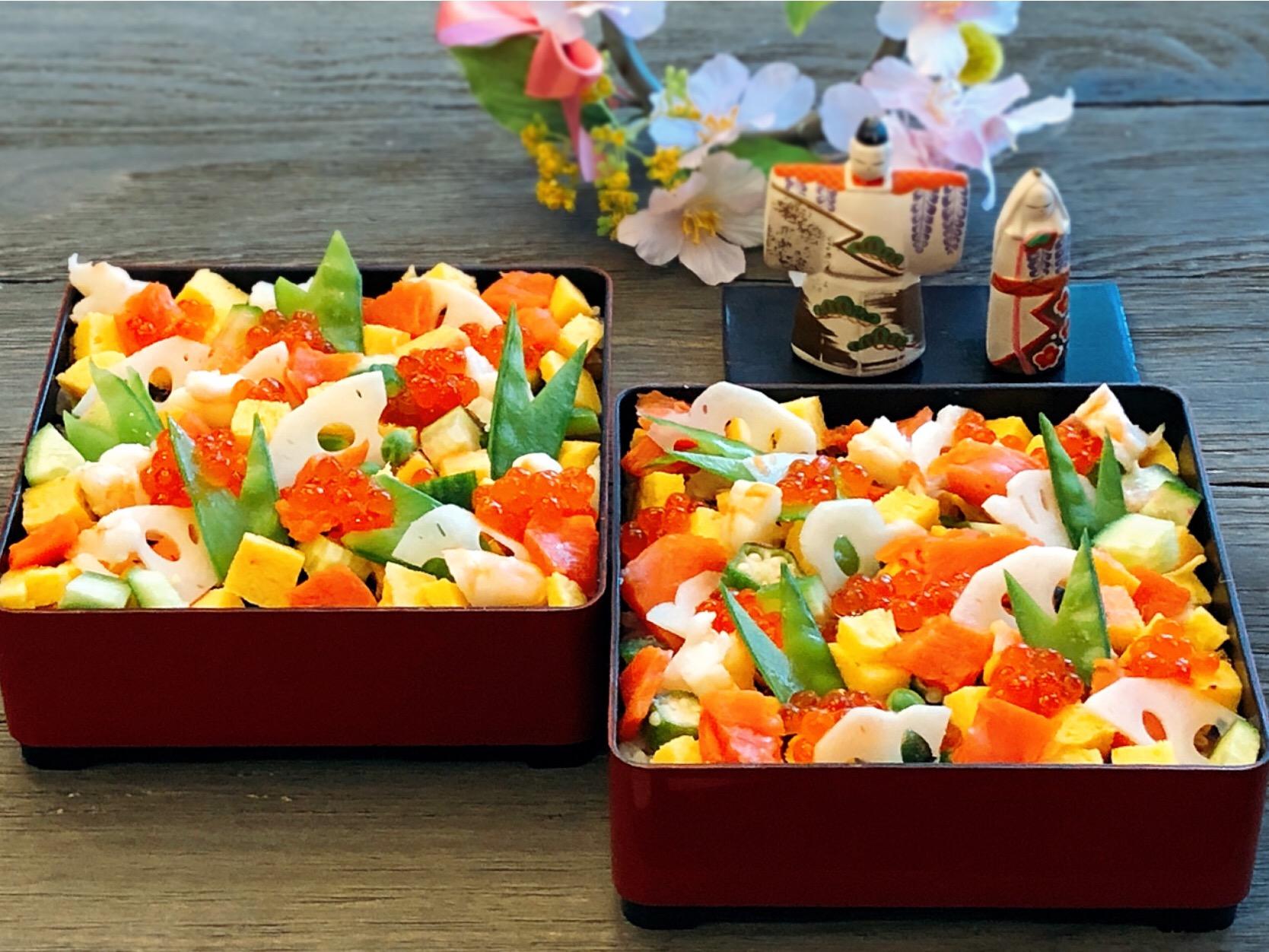 海外でも和食   おひな祭りに—ばらちらし
