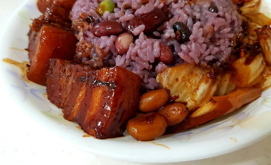 mixed rice and beans with braised pork belly