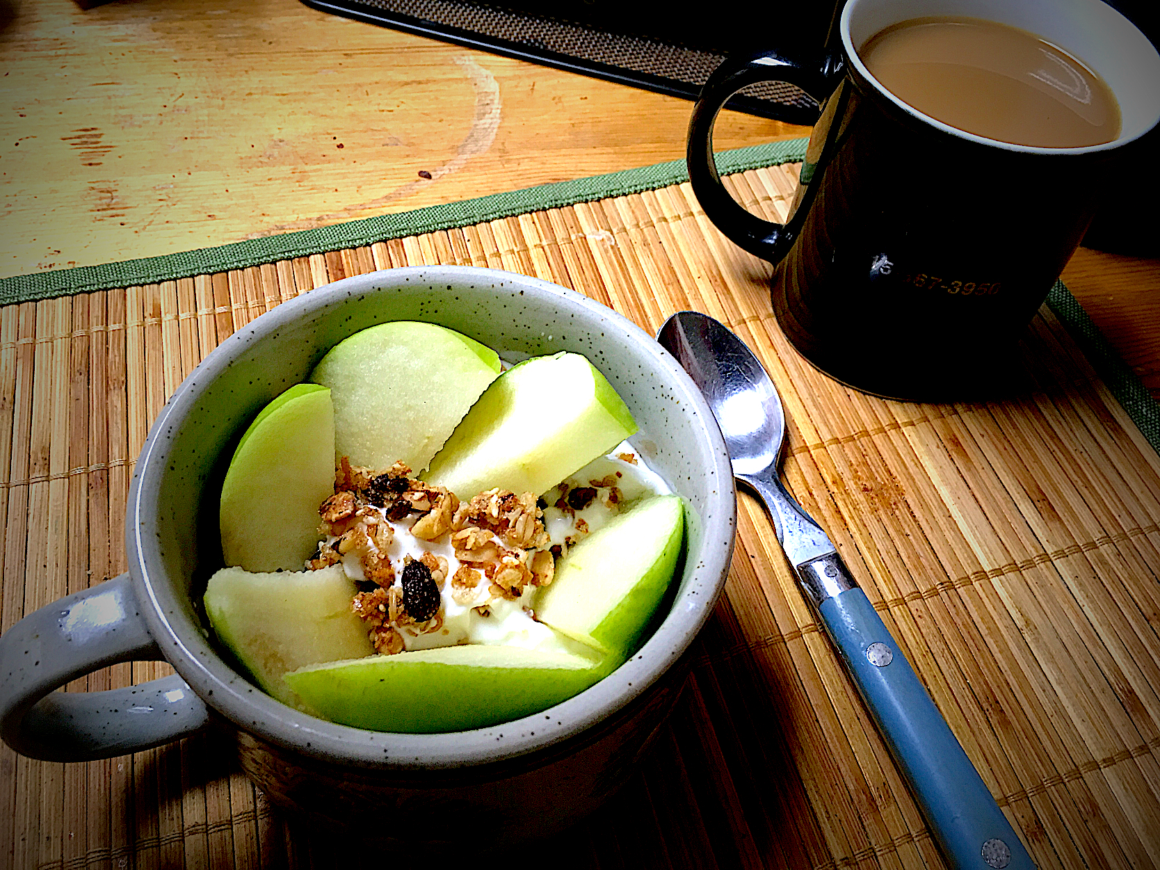 Greek Nonfat Yogurt, Banana Nut Granola, Green Apple Slices, Hazelnut Coffee