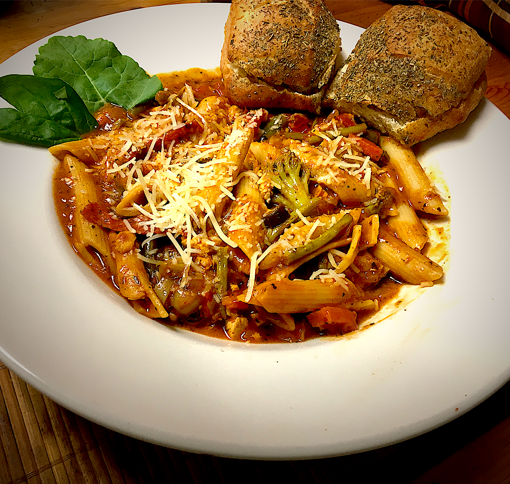 Rigatoni Pasta With Vegetable and Tomato, Served With Rosemary Roll with Onion & Chive Cream Cheese