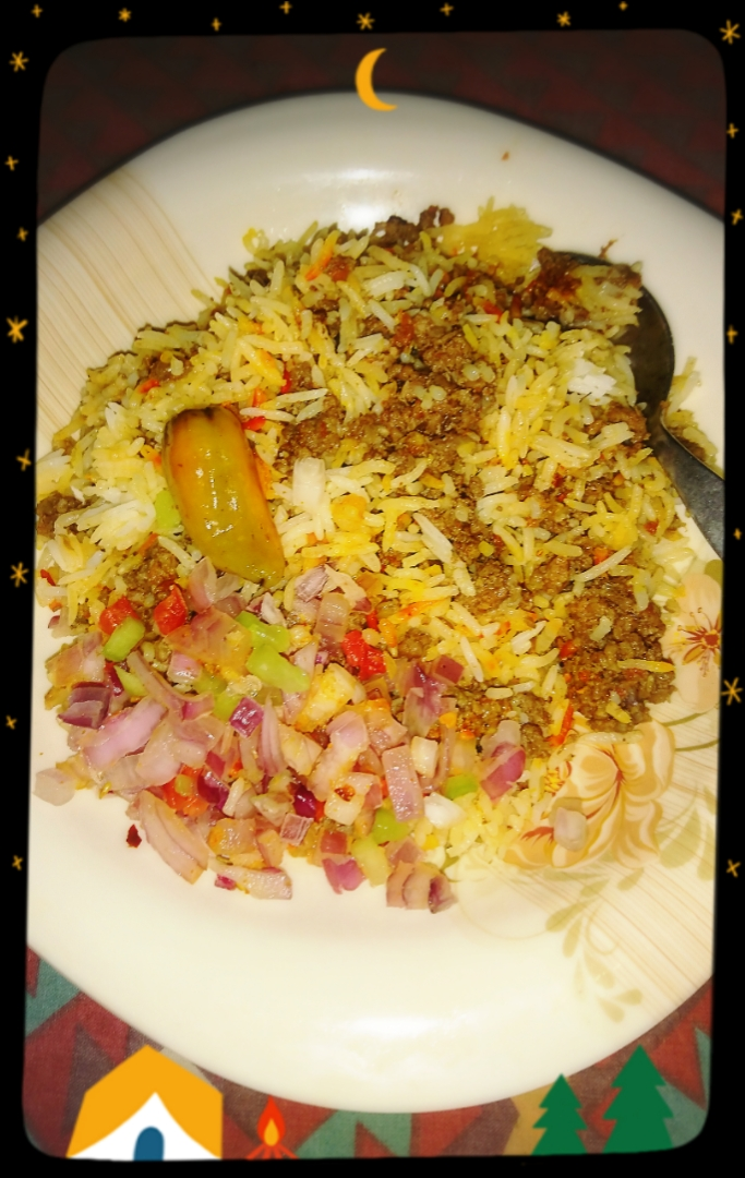 Mince Biryani (Spicy Mince Rice) with Salad.