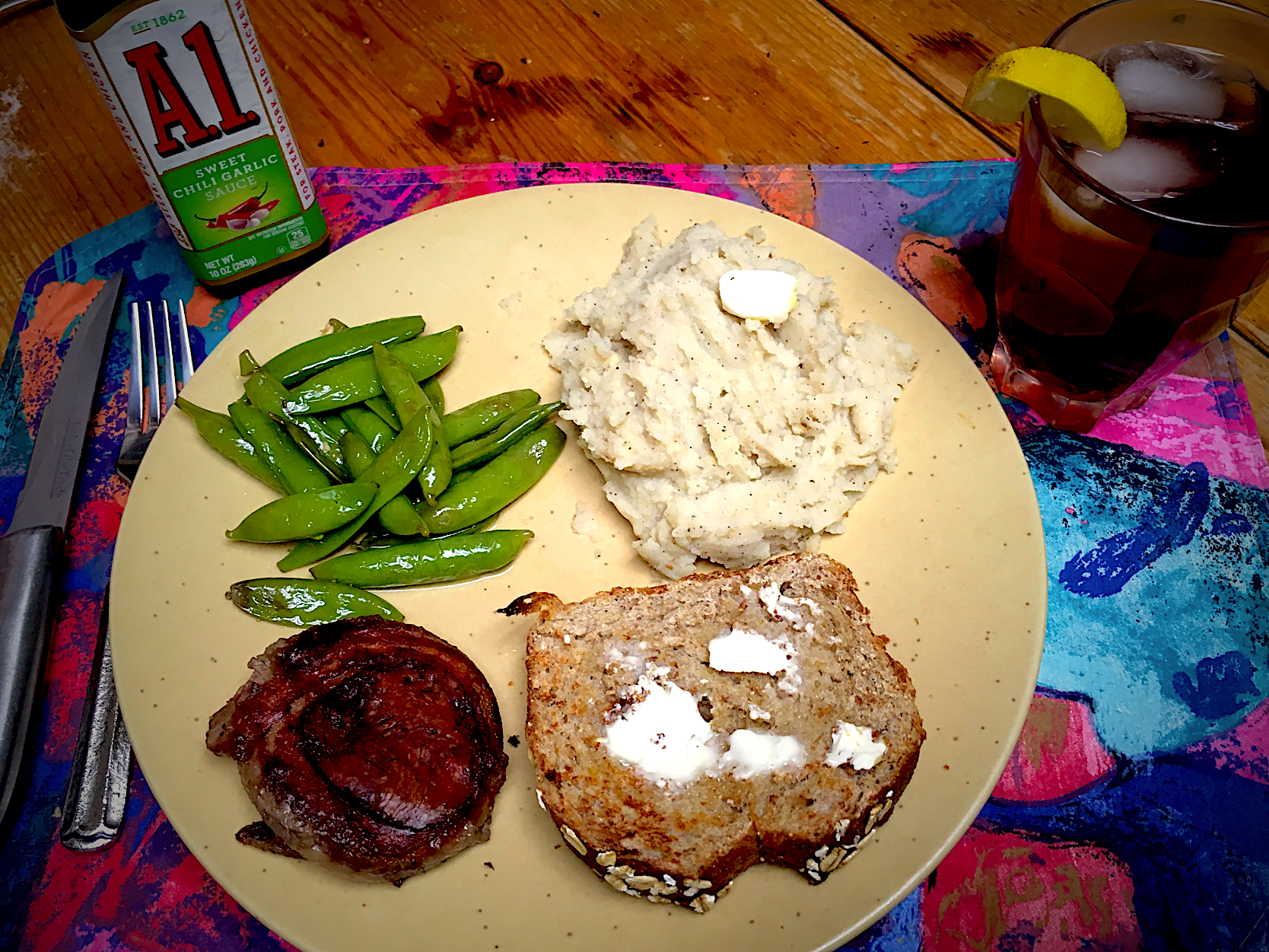 Grilled Bacon Wrapped Filet Mignonette, Steamed Snow Peas, Garlic Mashed Potato's & Toast