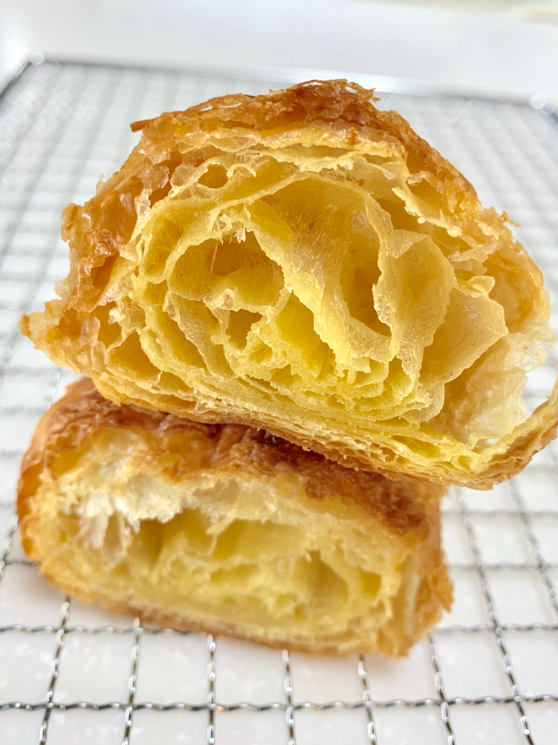 Cut end of the croissants