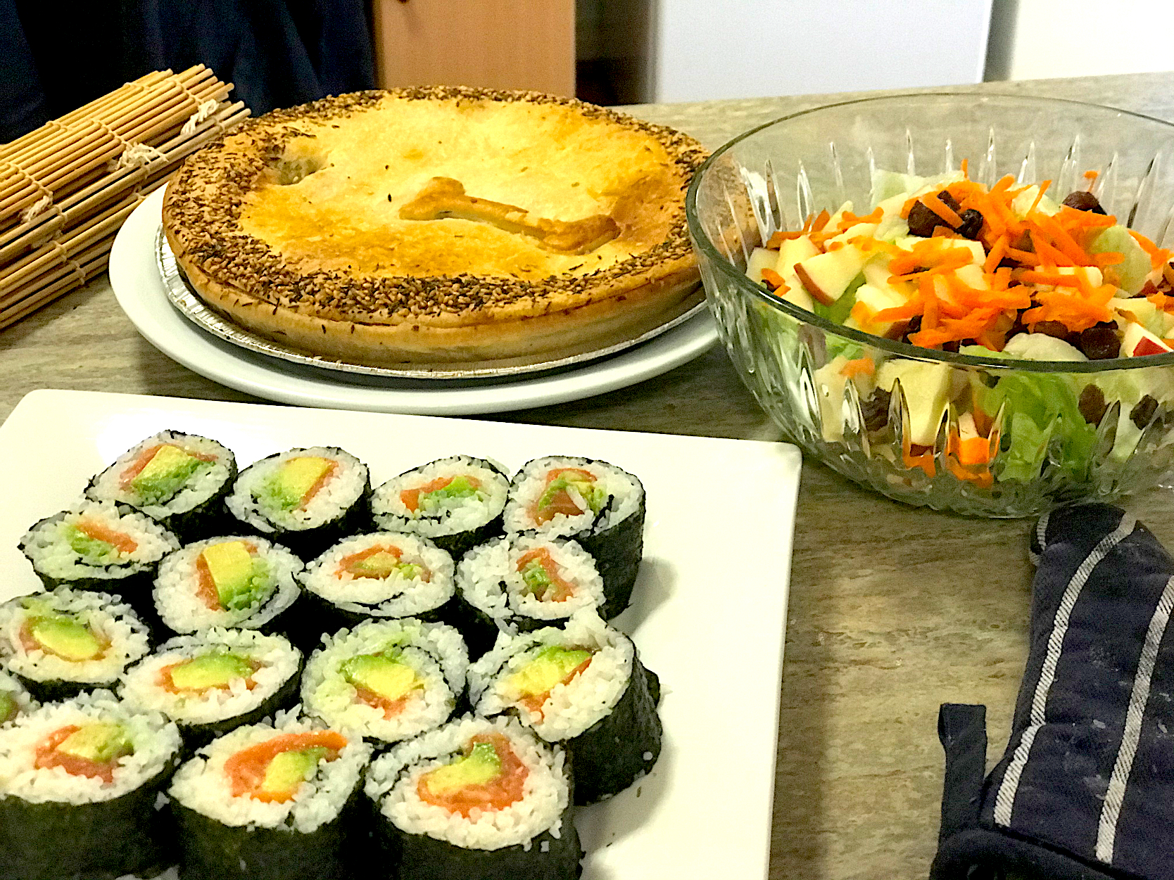 Chicken mushroom &leek pie #smoked salmon and avocado sushi roll with fresh veggies salad