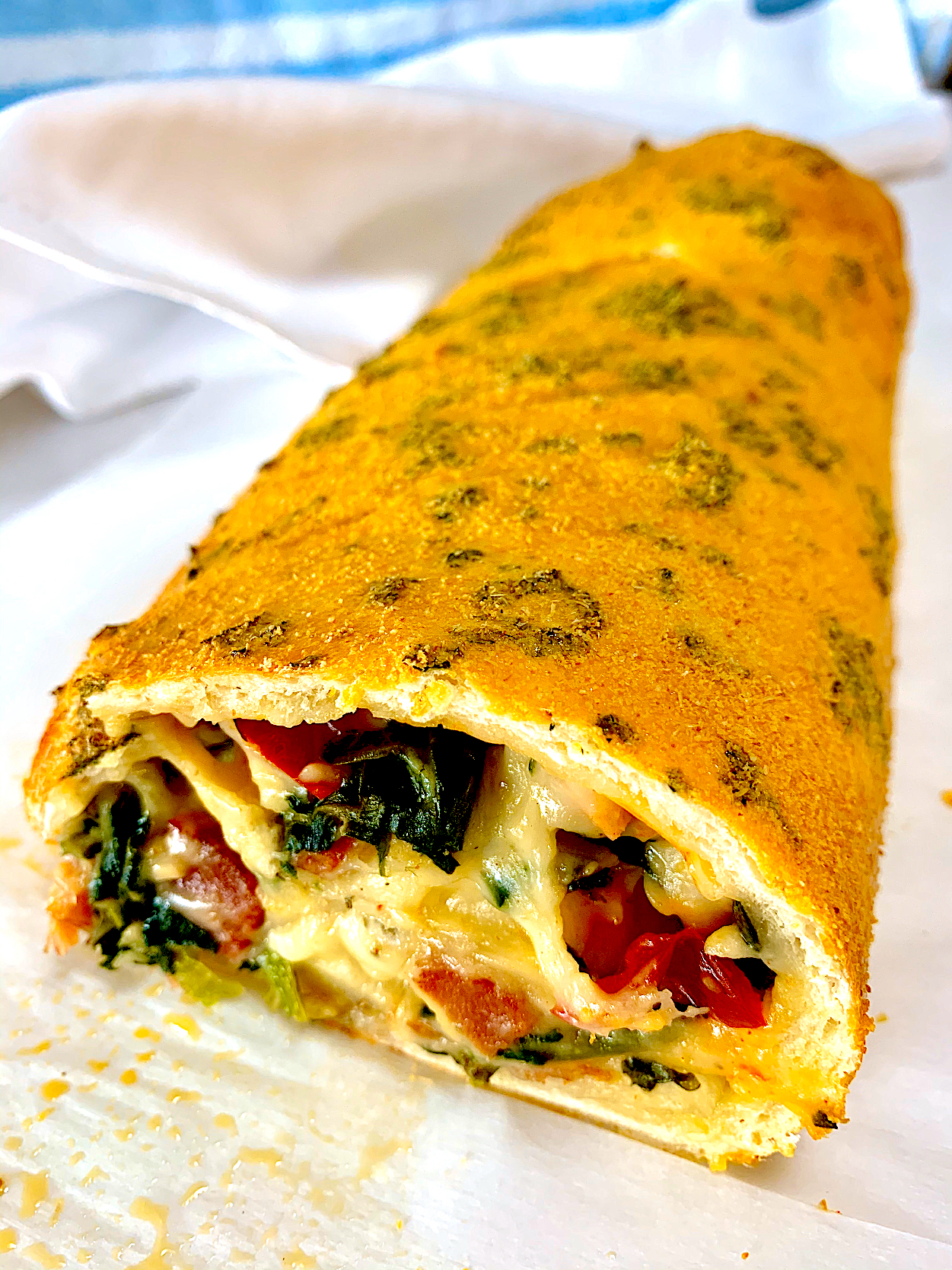 Bacon, Spinach and Cherry Pepper Stromboli
