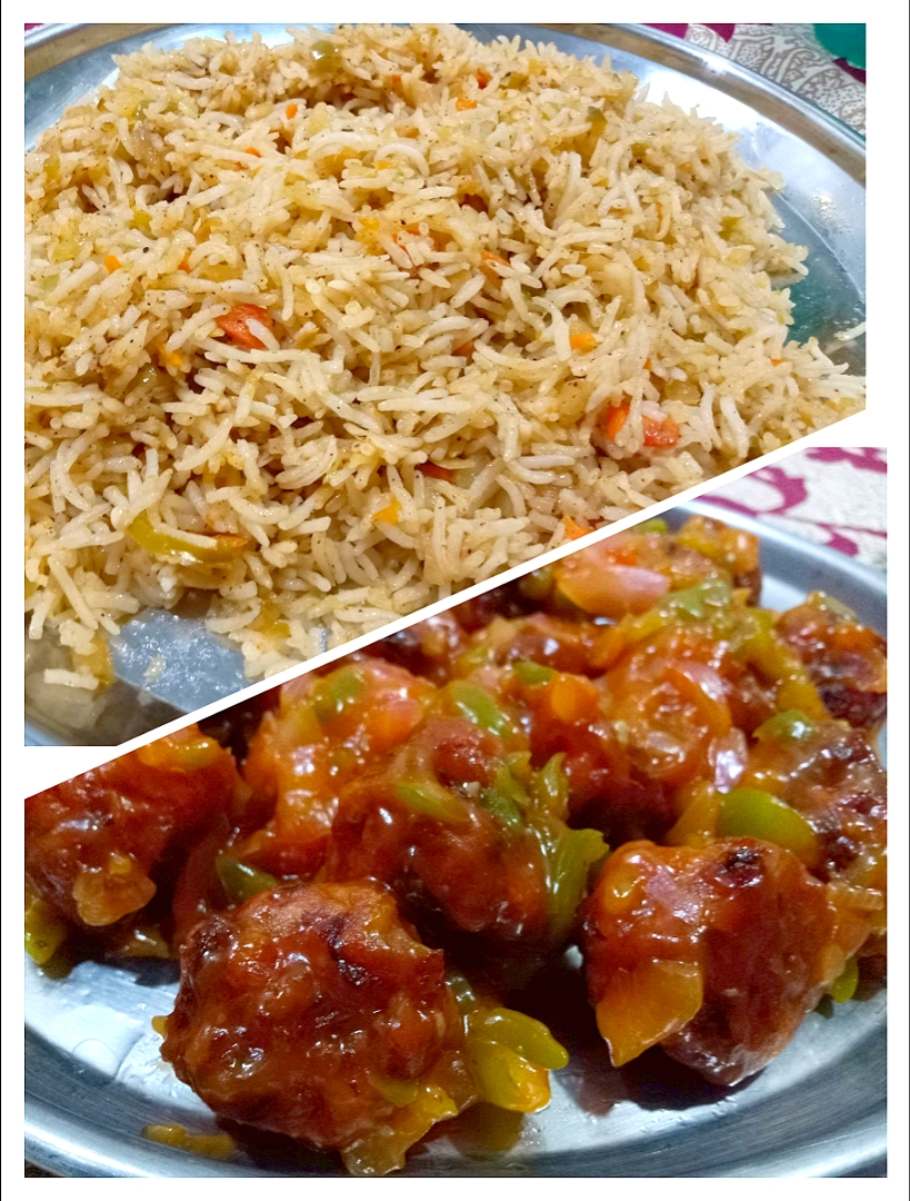 Veg fried rice and Bread Manchurian