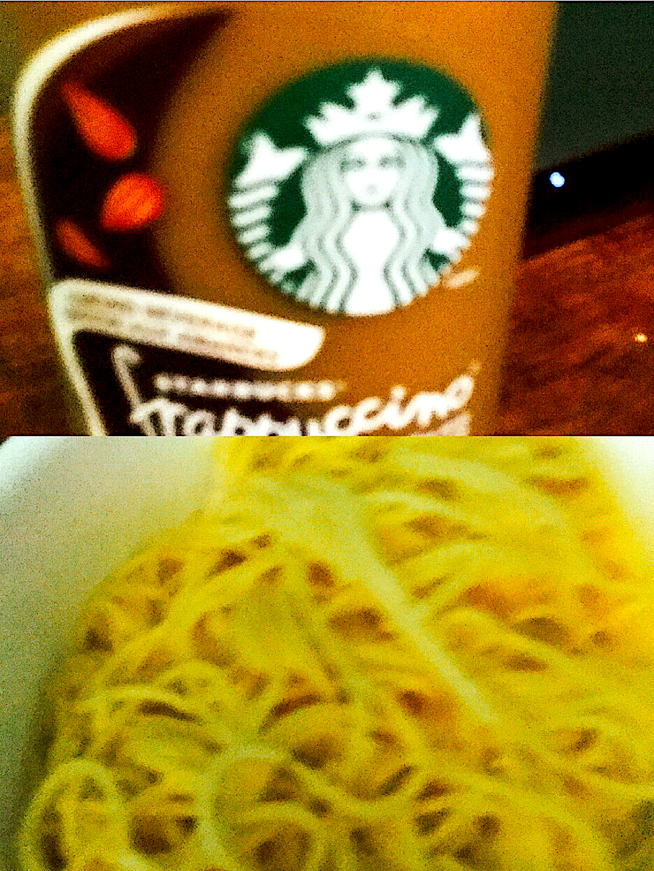 Mexican spaghetti with cheese whiz and a bottle of almond mocha from Starbucks