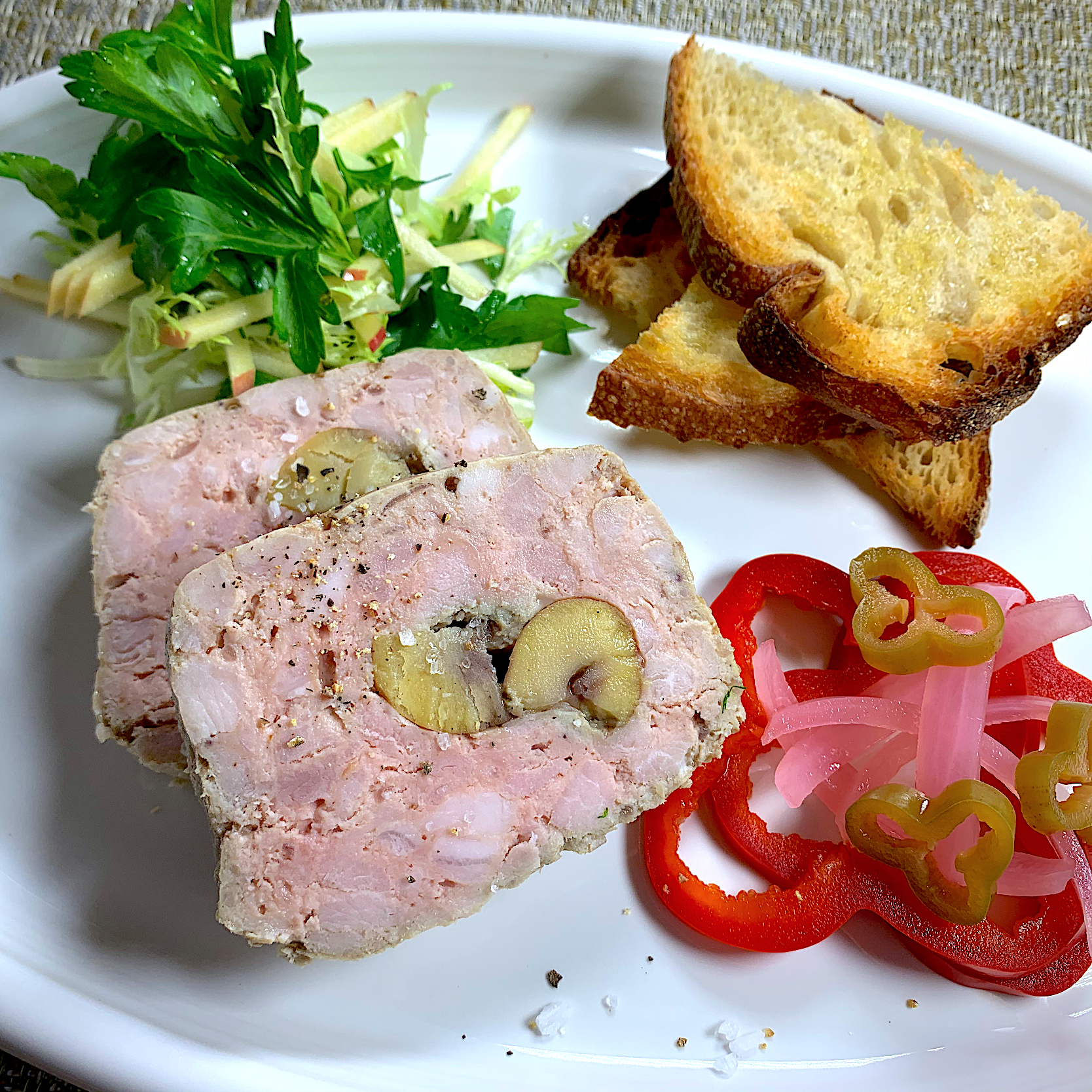Pâté de Campagne with Chestnuts  & Homemade Pickles (栗の入った田舎風パテとパプリカのピクルス)
