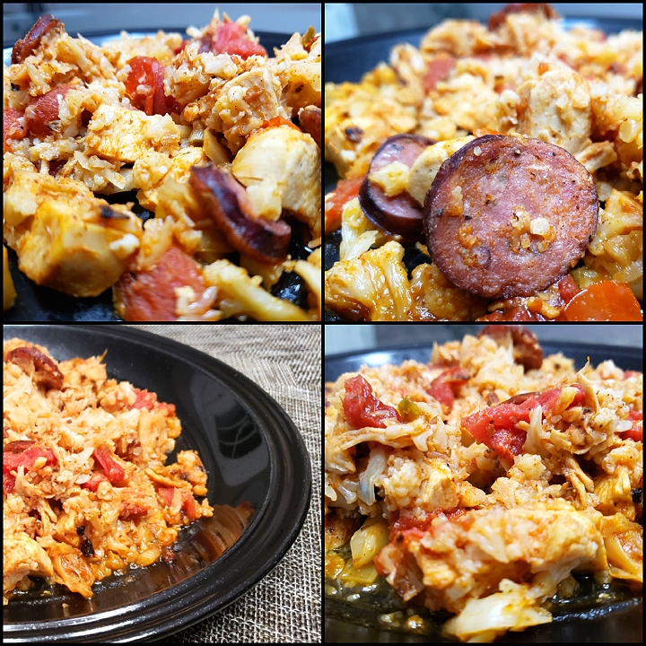 Cauliflower Jambalaya  Cal:260 Fat:11 Carb:9 Protein:30