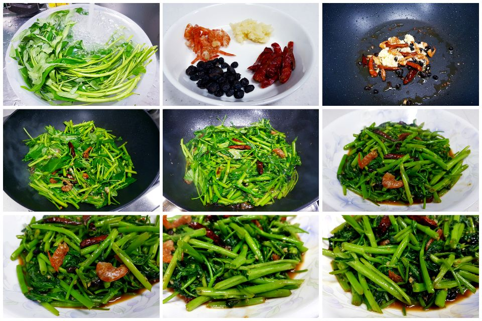 炒空心菜 - stir-fried water spinach