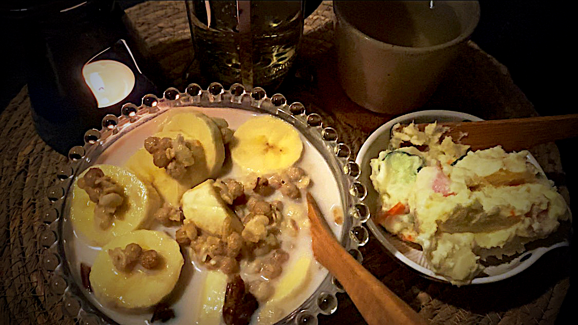 Day 4 Diet Meal | Cereal+Banana+Dried Dates | Potato Salad | Rosemary Tea