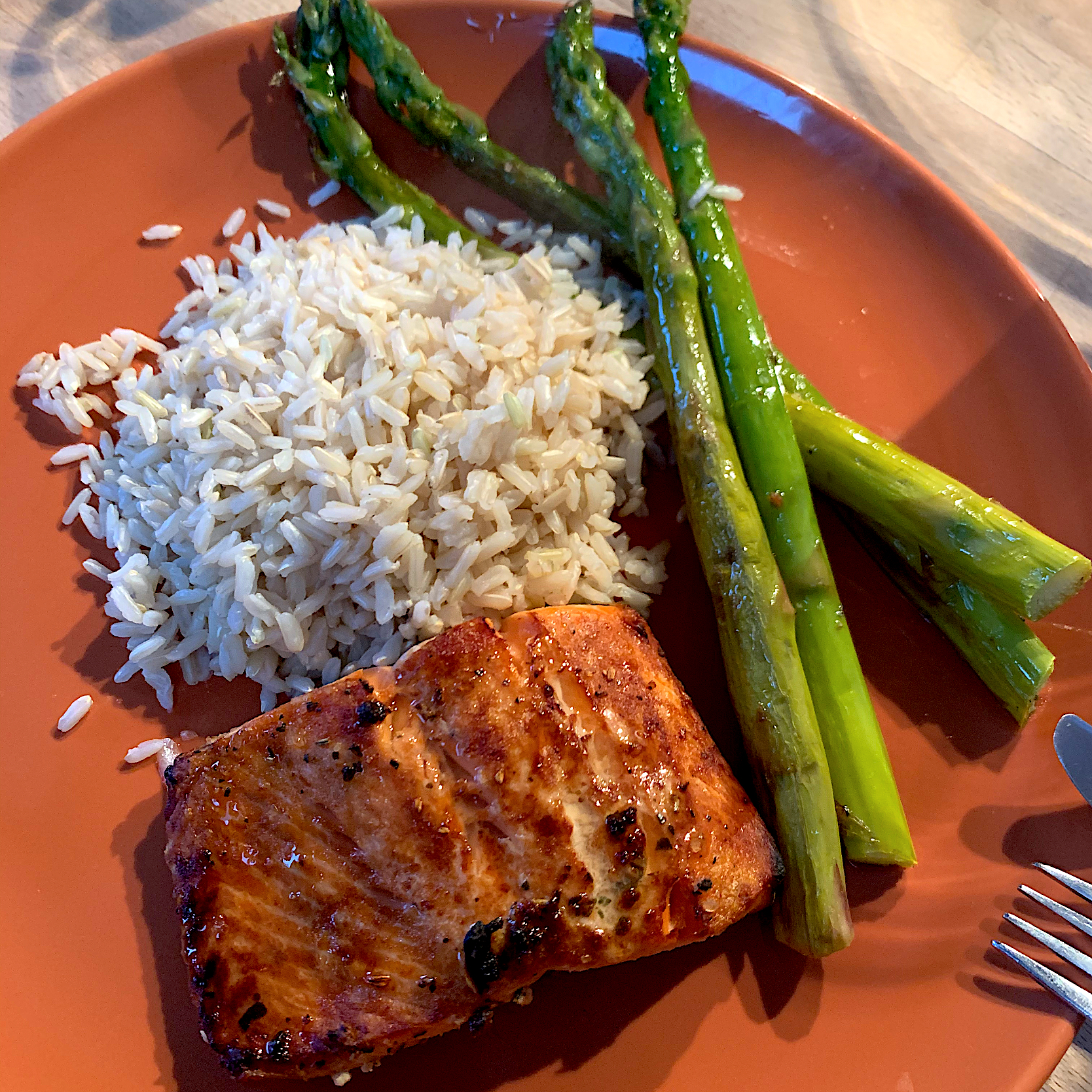 Salmon, asparagus, brown rice